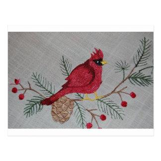 Embroidered Cardinal Postcard