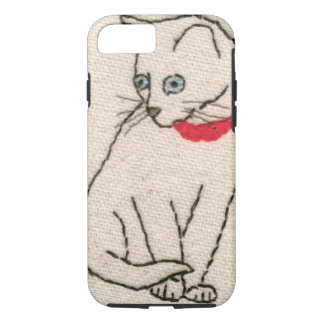 Embroidered cat iPhone 7 tough case