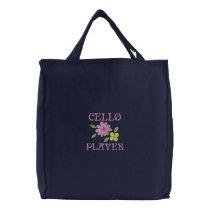Embroidered Cello Player Tote Bag