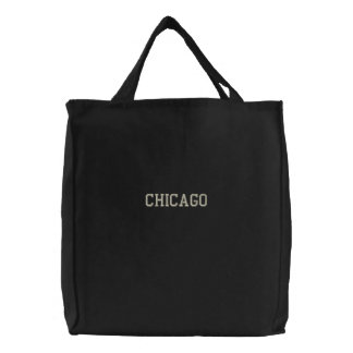 Embroidered Chicago Tote Bag Black