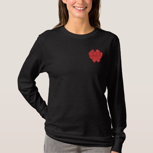 EMBROIDERED CHRISTMAS BOW LADIES SHIRT