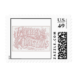 Embroidered Cloth Merry Christmas Postage Stamps