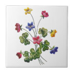 Embroidered Colorful Wood Sorrel Tiles
