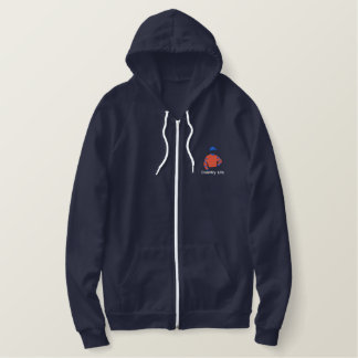 Embroidered Country Life zip hoodie