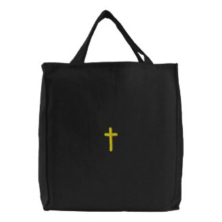 Embroidered Cross Embroidered Tote Bag