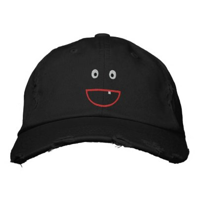 Embroidered Distressed Smiling Cap