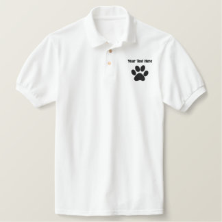 Embroidered Dog Paw With Custom Text Embroidered Polo Shirt