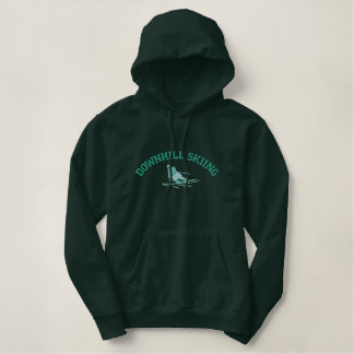 Embroidered Downhill Skiing Hoodie