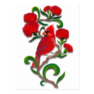 embroidered exotic bird postcard