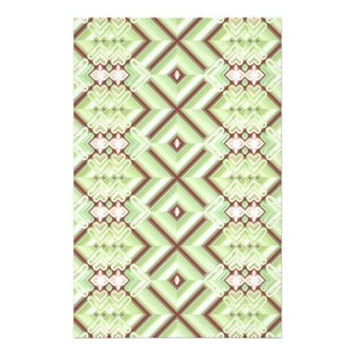 Embroidered Fabric Inlaid. Elegant Apple Green Stationery Design