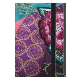 Embroidered fabric, rose print bohemian ipad case