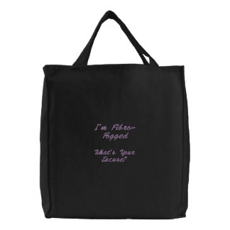 Embroidered Fibro Fog Bag - Lilac lettering