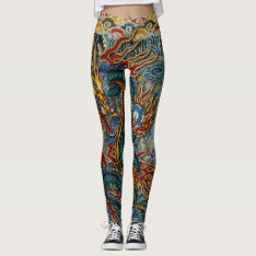 Embroidered Fiery Chinese Dragon Leggings at Zazzle