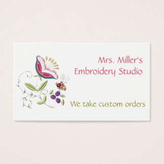 Embroidered Flowers Bee Embroidery Floral Pattern Business Card