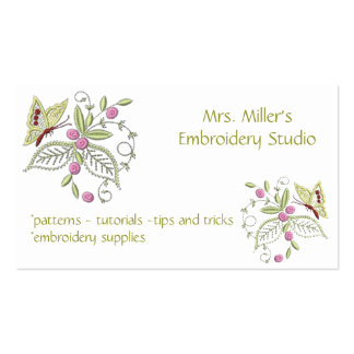 Embroidered Flowers Butterfly Embroidery Pattern Double-Sided Standard Business Cards (Pack Of 100)