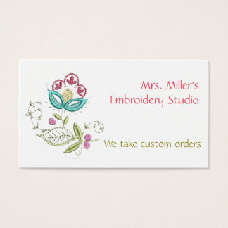 Embroidered Flowers Embroidery Floral Pattern Business Card