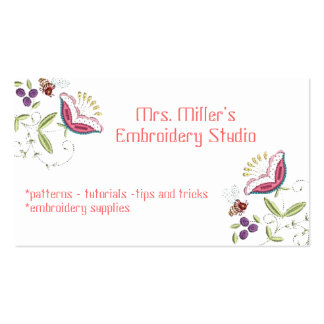 Embroidered Flowers Garden Bee Embroidery Pattern Business Card