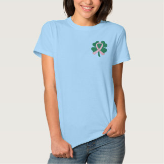 Embroidered Four-Leaf Clover Ribbon Breast Cancer Embroidered Shirt