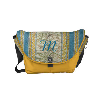 Embroidered French Tapestry Look Custom Monogram Small Messenger Bag