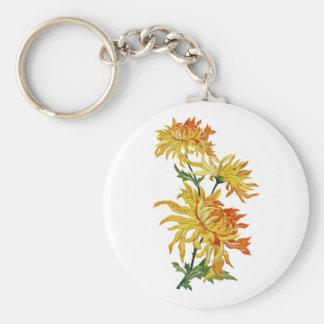 Embroidered Golden Chinese Chrysanthemum Basic Round Button Keychain