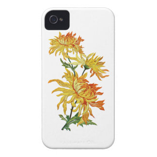 Embroidered Golden Chinese Chrysanthemum iPhone 4 Case-Mate Case