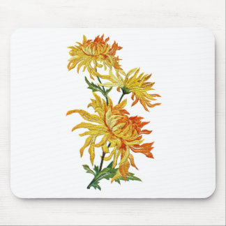 Embroidered Golden Chinese Chrysanthemum Mouse Pad