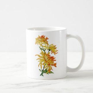 Embroidered Golden Chinese Chrysanthemum Classic White Coffee Mug