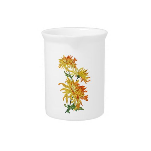 Embroidered Golden Chinese Chrysanthemum Pitcher