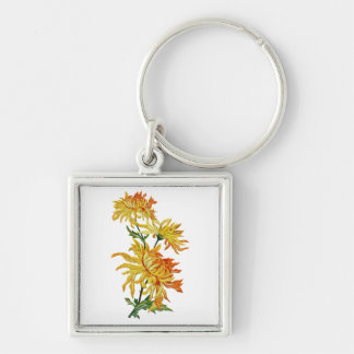Embroidered Golden Chinese Chrysanthemum Silver-Colored Square Keychain
