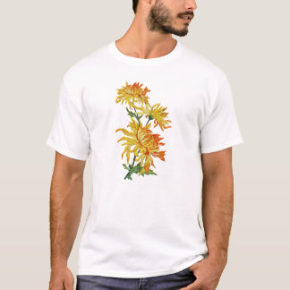 Embroidered Golden Chinese Chrysanthemum T-Shirt