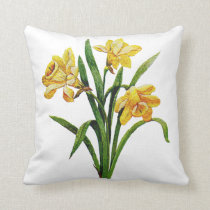 Embroidered Golden Daffodils Throw Pillow