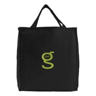 Embroidered HandBag w Tamarack (Lt Green) Embroidered Tote Bag