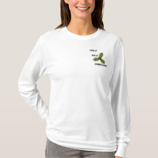 EMBROIDERED HOLLY, JOLLY CHRISTMAS LADIES SHIRT