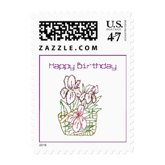 Embroidered Iris Birthday Postage Stamp