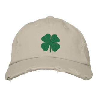 Embroidered Irish Four Leaf Clover Embroidered Baseball Cap