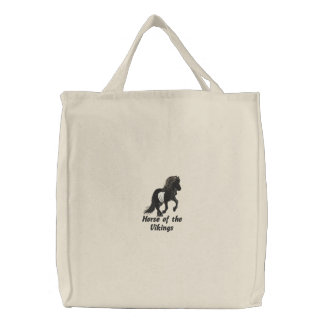 Embroidered Light Hearted Icelandic Embroidered Tote Bag