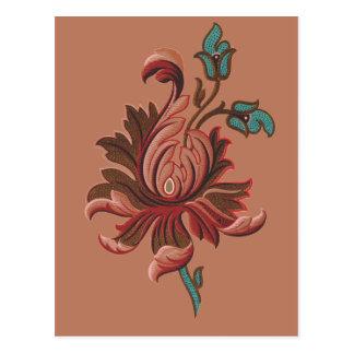 Embroidered Like Rose Flower Postcard