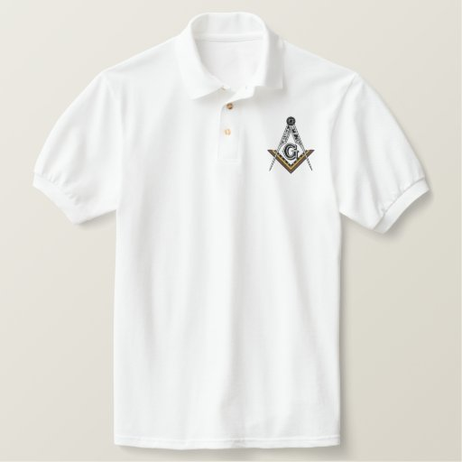 Embroidered Masonic Square and Compass Embroidered Polo Shirt