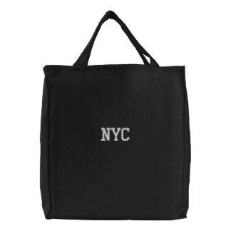Embroidered NYC New York City Tote Bag Black