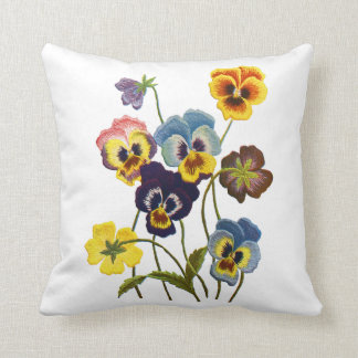 Embroidered Pansies Throw Pillow