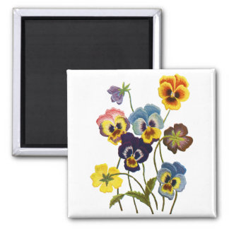 Embroidered Parade of Pansies 2 Inch Square Magnet