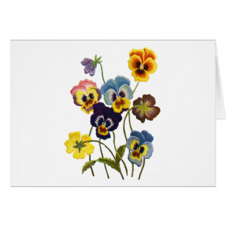 Embroidered Parade of Pansies Card