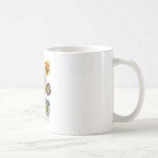 Embroidered Parade of Pansies Coffee Mug