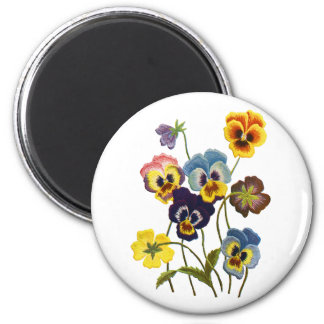 Embroidered Parade of Pansies Magnet