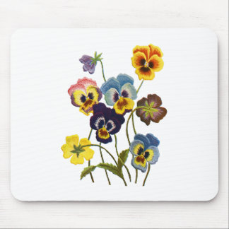 Embroidered Parade of Pansies Mouse Pad
