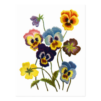 Embroidered Parade of Pansies Postcards