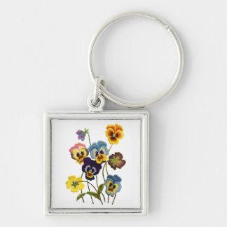 Embroidered Parade of Pansies Silver-Colored Square Keychain