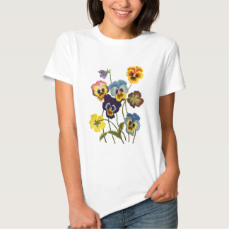 Embroidered Parade of Pansies T Shirt
