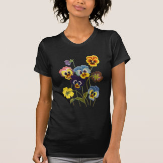Embroidered Parade of Pansies Tee Shirt