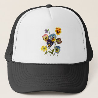 Embroidered Parade of Pansies Trucker Hat
